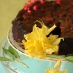 Chocolate Rhubarb Upside Down Cake (Gluten Free, Vegan, Paleo, Egg free, Dairy free, Grain free)