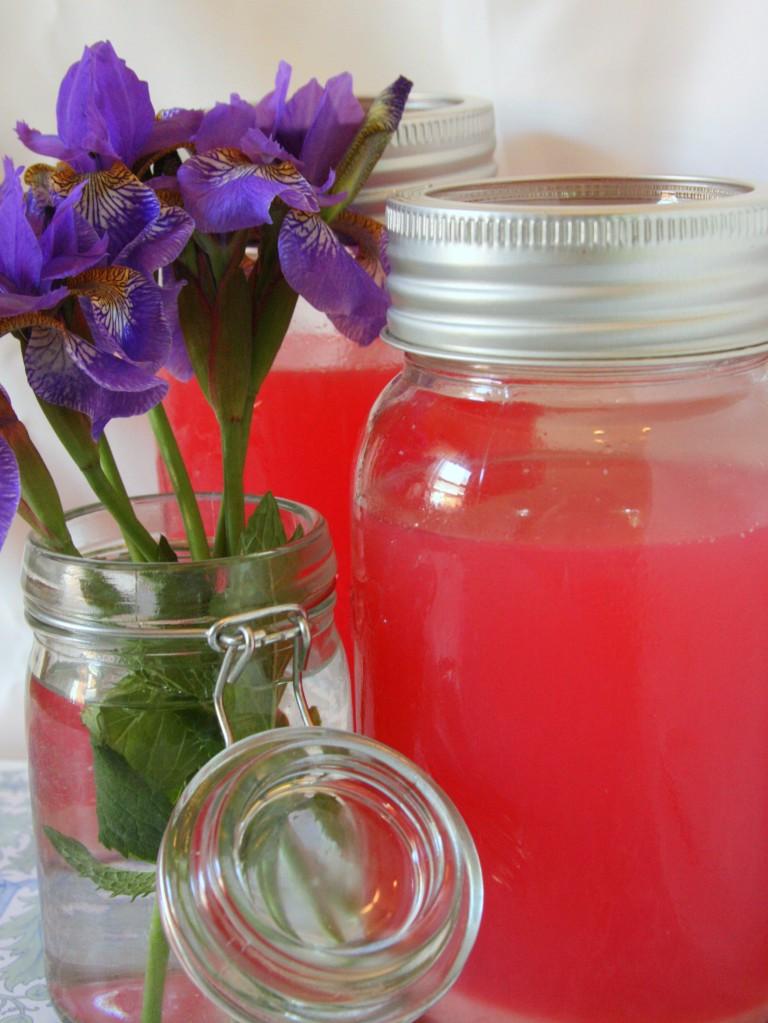 Rhubarb Lemonade (Dye Free Pink Lemonade)- MyRealFoodLife.com