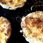 gluten free, egg free fried eggplant on the griddle