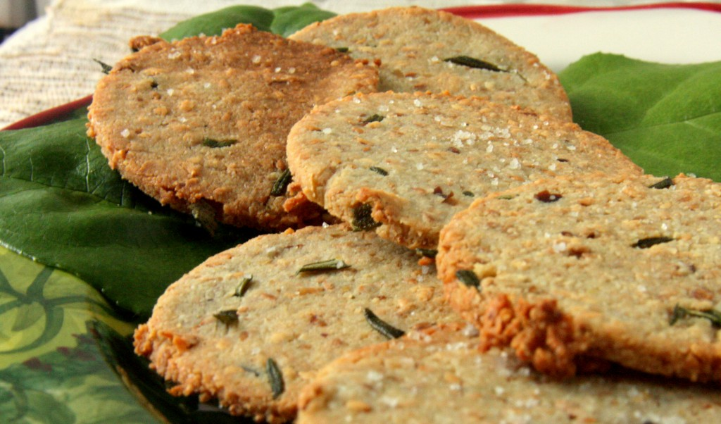 Gluten Free Vegan Rosemary Sesame Crackers